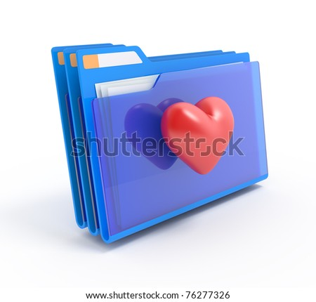 Blue folders with a heart.Favorites.