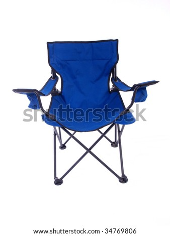 Blue folding chair for camping and outdoor use.