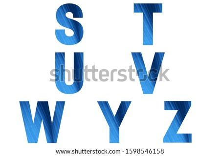 Blue font Alphabet s, t, u, v, w, y, z made of natural banana's leaf background. Zdjęcia stock ©