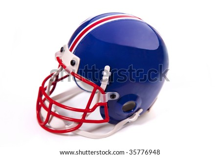 Blue Football helmet with chinstrap, red facemask, and pinstripe on white.