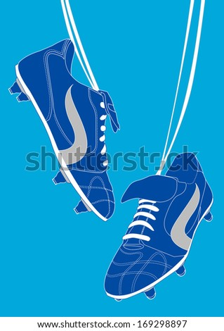 Blue football shoes.