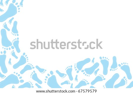 Blue footprints on a white background, baby blue footprints ...