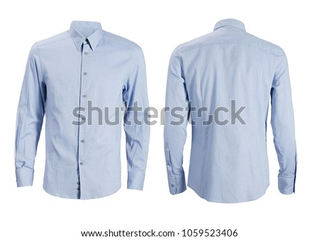 Blue formal shirt with button down collar isolated on white