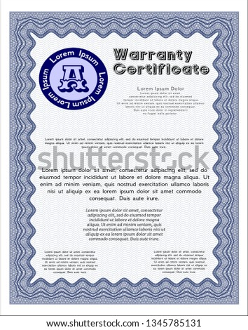 Blue Formal Warranty Certificate template. illustration. With linear background. Cordial design.  #1345785131