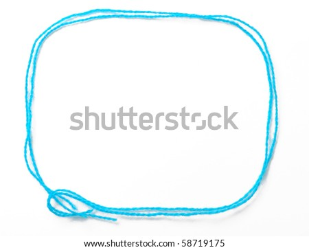 Blue frame is made with fibers for knitting. It is empty and isolated on white. - stock photo