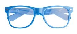 Blue Frame Of Eye Glasses Isolated On White Background