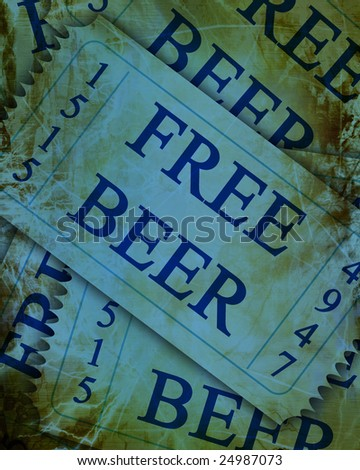 blue free beer tickets with a grunge touch upon it