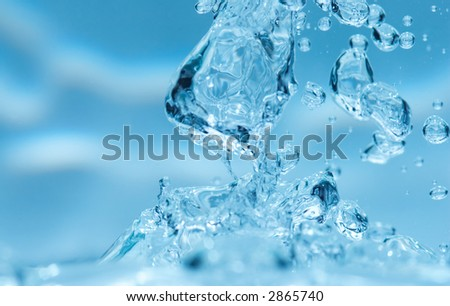 blue fresh water and bubbles background