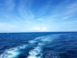 Blue frothy surface of sea water