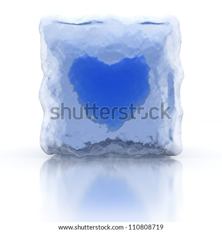 Blue frozen heart, front view. Shape of heart in ice cube. White background. Reflections and refraction