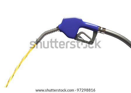Blue fuel nozzle isolated on white