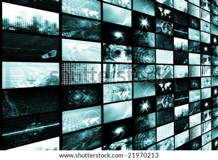 Blue Futuristic Digital TV and Channels Background