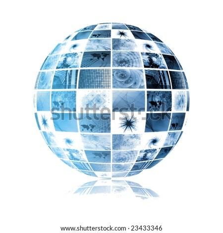 Blue Futuristic Digital TV Channels as Background