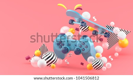 Blue gamepad and skateboard Among the colorful balls on the pink background.-3d render.