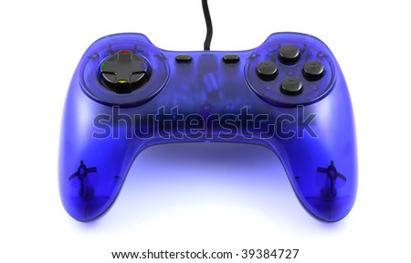 Blue gamepad isolated on white background - close-up view.