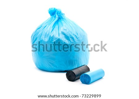 Blue garbage bag	 isolated on a white background.