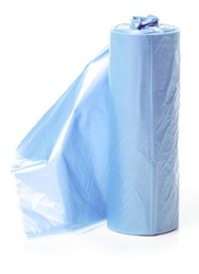 Blue garbage bags on white background isolation