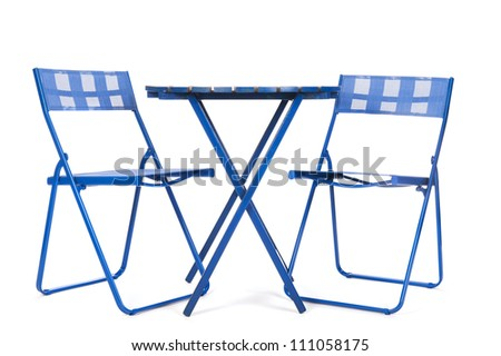 Blue garden furniture isolated over white background