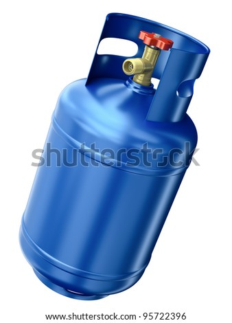 Blue gas container isolated on white background. 3D render.
