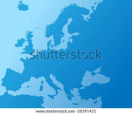 blue geographic map of europe