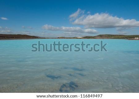Blue geothermal lake near Lake Myvatn in northern Iceland