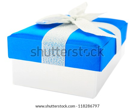 Blue gift box isolated on white background