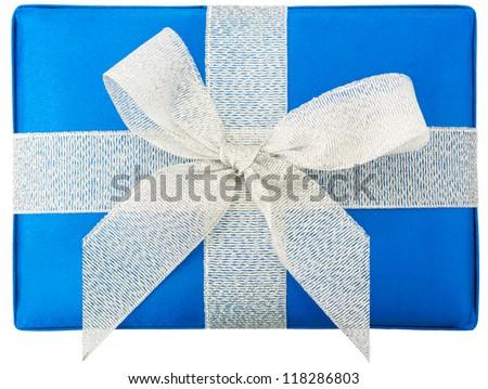 Blue gift box isolated on white background