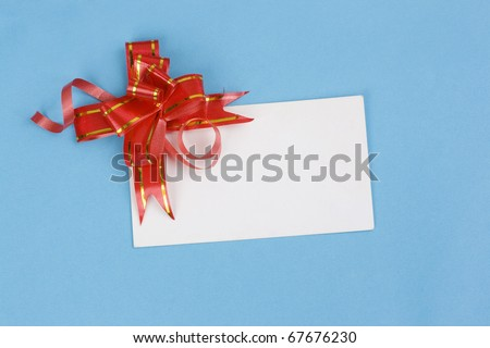 Blue Gift Box With A Bow and card