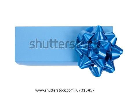 blue gift box with a wrap bow isolated on white background