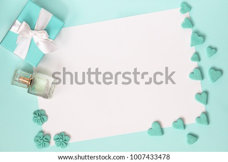 blue gift box with jewelery and ...