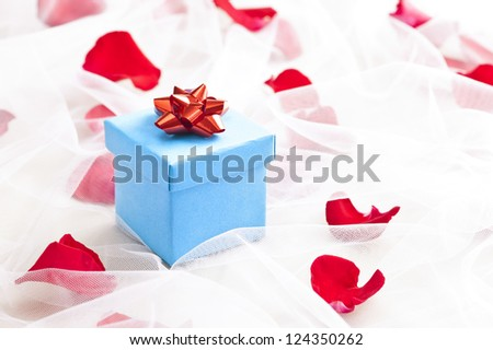 Blue Gift box with red bow on wedding veil with rose petals