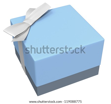 blue gift box with small silky ribbon