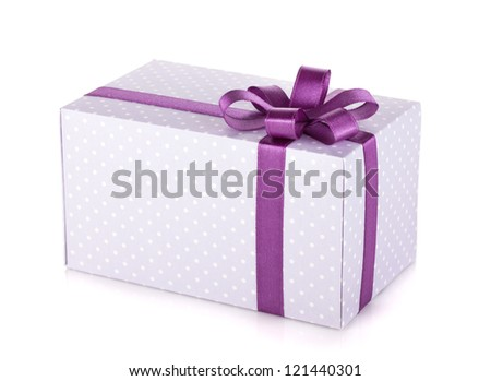 Blue gift box with violet ribbon and bow. Isolated on white background
