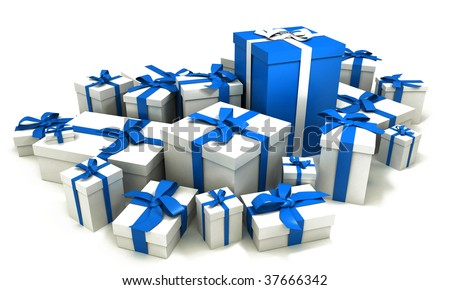 Blue gift box with white ribbon in the middle of a pile of white presents