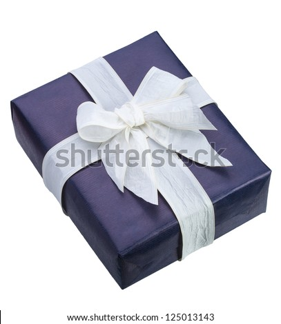 Blue gift box with white ribbon on white background