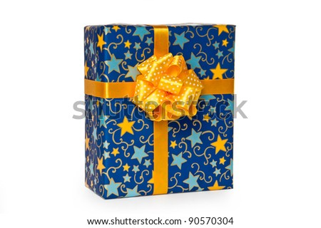 Blue gift box with yellow bow and ribbon isolated on white background with clipping path