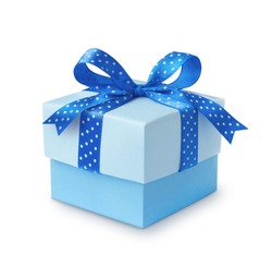 Blue gift with a ribbon and bow