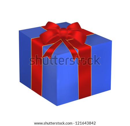 Blue gift with red ribbon and bow isolated on the white background