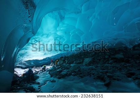 blue glacier ice cave near...