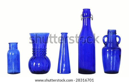 blue glass bottles with clipping path
