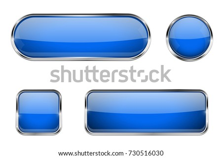 Blue glass buttons with chrome frame. 3d illustration isolated on white background. Raster version