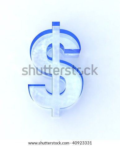 blue glass dollar sign isolated on white
