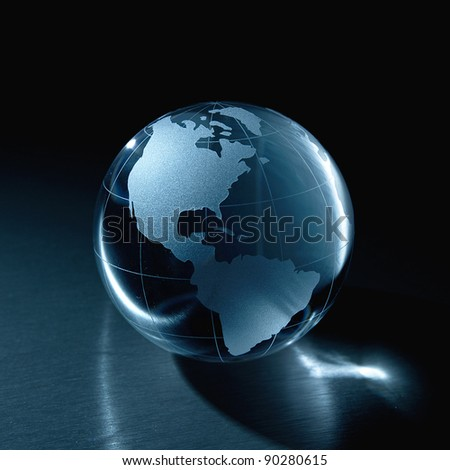 Blue Glass globe on a black background