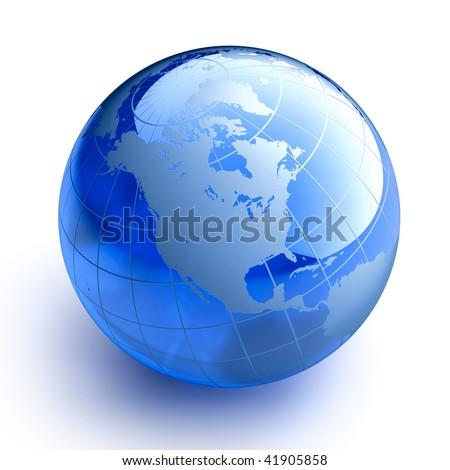 Blue glass globe on white background - stock photo