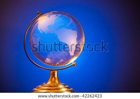 blue glass globe with copy space