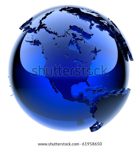 Blue glass globe with frosted continents a little, a little stand out from the water surface - stock photo