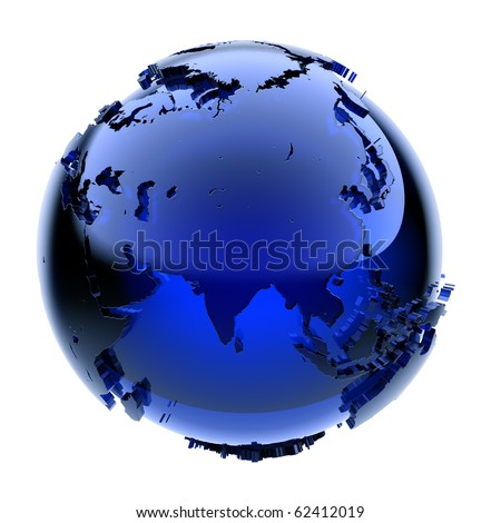 Blue glass globe with frosted continents a little stand out from the water surface