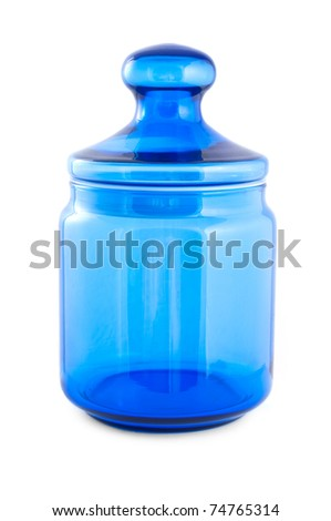 Blue glass jar, front view isolated on white background