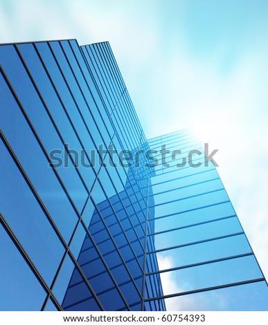 Blue glass of skyscraper - 3d rendering
