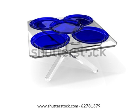 blue glass plates on transparent table